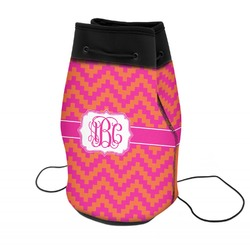 Pink & Orange Chevron Neoprene Drawstring Backpack (Personalized)
