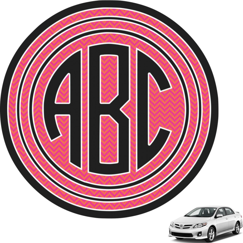Pink & Orange Chevron Circle Monogram Car Decal