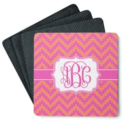 Pink & Orange Chevron 4 Square Coasters - Rubber Backed (Personalized)