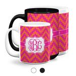 Pink & Orange Chevron Coffee Mugs (Personalized)