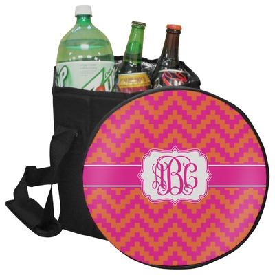 Pink & Orange Chevron Collapsible Cooler & Seat (Personalized)