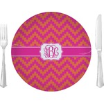 """Pink & Orange Chevron Glass Lunch / Dinner Plates 10"""" - Single or Set (Personalized)"""