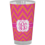 Pink & Orange Chevron Drinking / Pint Glass (Personalized)