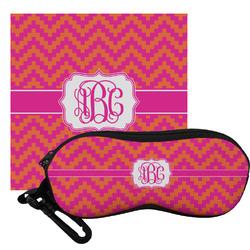 Pink & Orange Chevron Eyeglass Case & Cloth (Personalized)