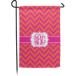Pink & Orange Chevron Garden Flag - Single or Double Sided (Personalized)
