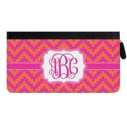 Pink & Orange Chevron Genuine Leather Ladies Zippered Wallet (Personalized)