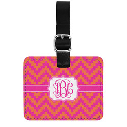 Pink & Orange Chevron Genuine Leather Luggage Tag w/ Monogram