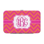 Pink & Orange Chevron Genuine Leather Small Framed Wallet (Personalized)
