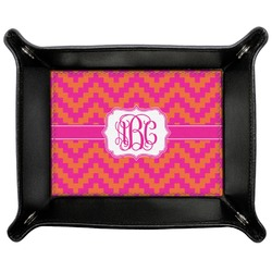 Pink & Orange Chevron Genuine Leather Valet Tray (Personalized)