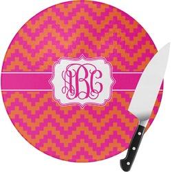 Pink & Orange Chevron Round Glass Cutting Board (Personalized)