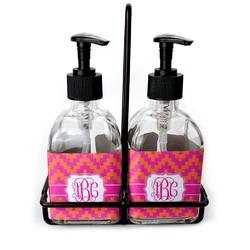 Pink & Orange Chevron Soap/Lotion Dispensers (Glass) (Personalized)