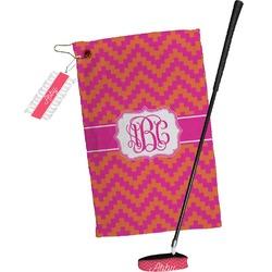 Pink & Orange Chevron Golf Towel Gift Set (Personalized)