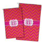Pink & Orange Chevron Golf Towel - Full Print w/ Monogram