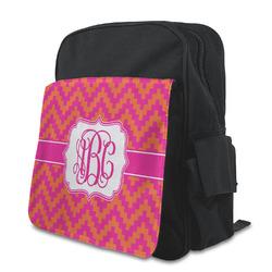 Pink & Orange Chevron Preschool Backpack (Personalized)