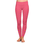 Pink & Orange Chevron Ladies Leggings (Personalized)