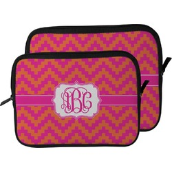 Pink & Orange Chevron Laptop Sleeve / Case (Personalized)