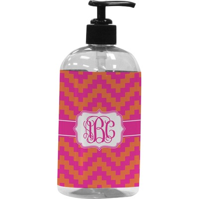 Pink & Orange Chevron Plastic Soap / Lotion Dispenser (Personalized)
