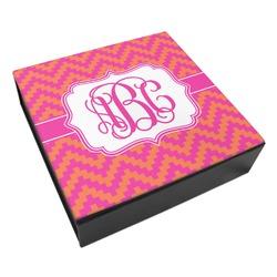 Pink & Orange Chevron Leatherette Keepsake Box - 8x8 (Personalized)