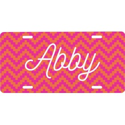 Pink & Orange Chevron Front License Plate (Personalized)