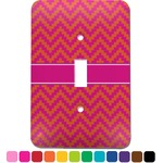 Pink & Orange Chevron Light Switch Cover (Single Toggle) (Personalized)