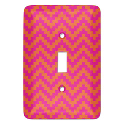 Pink & Orange Chevron Light Switch Covers - Multiple Toggle Options Available (Personalized)