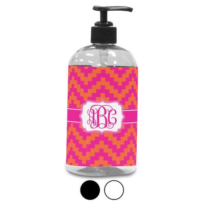 Pink & Orange Chevron Plastic Soap / Lotion Dispenser (Personalized)