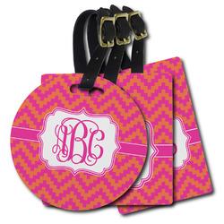 Pink & Orange Chevron Plastic Luggage Tags (Personalized)