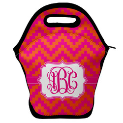 Pink & Orange Chevron Lunch Bag (Personalized)