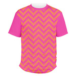 Pink & Orange Chevron Men's Crew T-Shirt (Personalized)