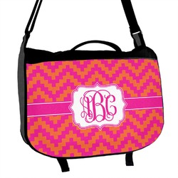 Pink & Orange Chevron Messenger Bag (Personalized)