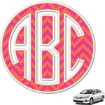 Pink & Orange Chevron Monogram Car Decal (Personalized)