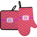 Pink & Orange Chevron Oven Mitt & Pot Holder (Personalized)