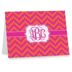 Pink & Orange Chevron Note cards (Personalized)