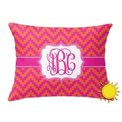 Pink & Orange Chevron Outdoor Throw Pillow (Rectangular) (Personalized)