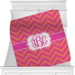 Pink & Orange Chevron Minky Blanket (Personalized)