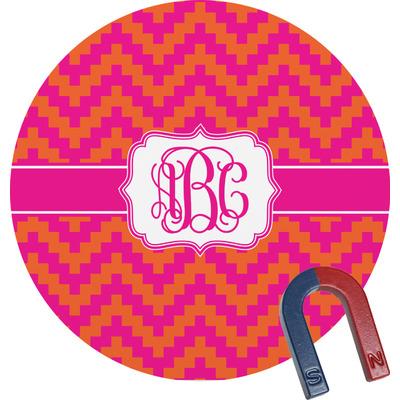 Pink & Orange Chevron Round Fridge Magnet (Personalized)