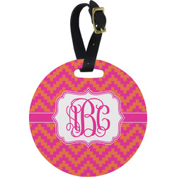 Pink & Orange Chevron Round Luggage Tag (Personalized)
