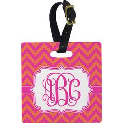 Pink & Orange Chevron Luggage Tags (Personalized)