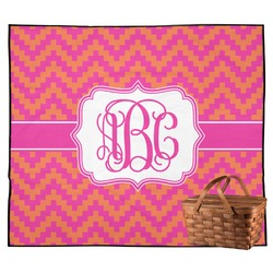 Pink & Orange Chevron Outdoor Picnic Blanket (Personalized)