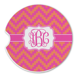 Pink & Orange Chevron Sandstone Car Coasters (Personalized)