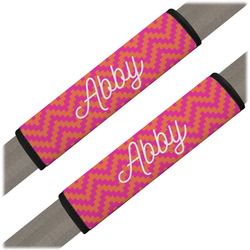 Pink & Orange Chevron Seat Belt Covers (Set of 2) (Personalized)
