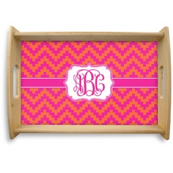 Pink & Orange Chevron Natural Wooden Tray - Small (Personalized)