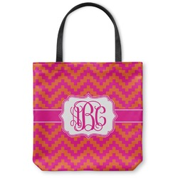 Pink & Orange Chevron Canvas Tote Bag (Personalized)