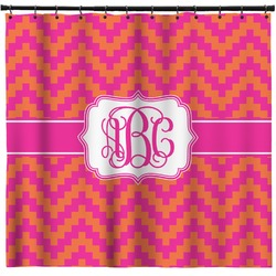 Pink & Orange Chevron Shower Curtain (Personalized)
