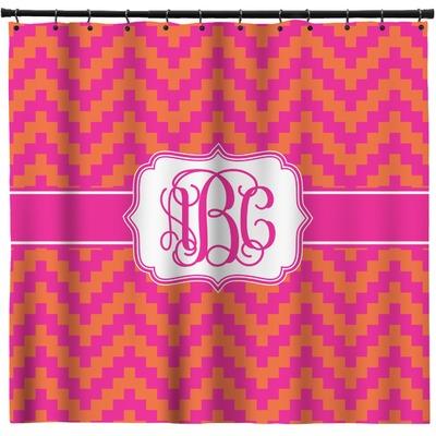 Pink Orange Chevron Shower Curtain Personalized