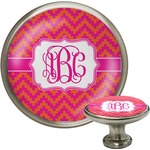 Pink & Orange Chevron Cabinet Knob (Silver) (Personalized)