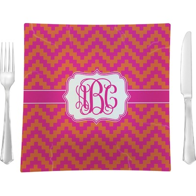 """Pink & Orange Chevron 9.5"""" Glass Square Lunch / Dinner Plate- Single or Set of 4 (Personalized)"""