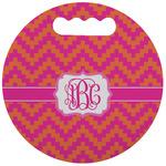 Pink & Orange Chevron Stadium Cushion (Round) (Personalized)