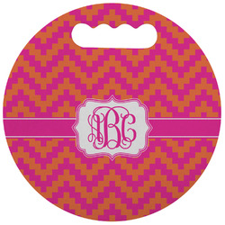 Pink & Orange Chevron Stadium Cushion (Round) (Personalized)