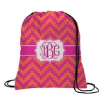 Pink & Orange Chevron Drawstring Backpack (Personalized)
